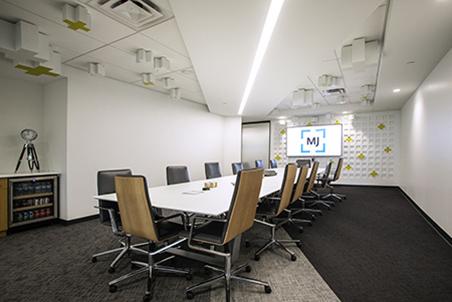 MJ's boardroom in the Carmel, IN office.